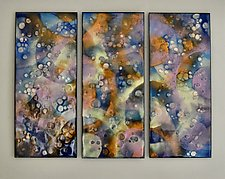 Joyful Trio on Board by Cynthia Miller (Art Glass Wall Sculpture)