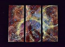 Confetti Trio on Black Acrylic by Cynthia Miller (Art Glass Wall Sculpture)