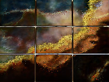 New Swan in Nine Panels by Cynthia Miller (Art Glass Wall Sculpture)