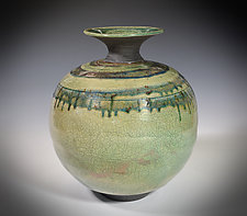 Blue Rain Spiral by Tom Neugebauer (Ceramic Vessel)