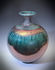 Royalty Aqua Luster Vase by Tom Neugebauer (Ceramic Vessel)