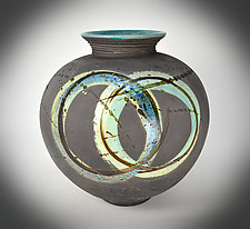 Blue Circle Halo II by Tom Neugebauer (Ceramic Vessel)