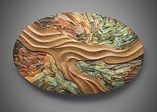 Driftless Convergence by Aaron Laux (Art Glass & Wood Wall Sculpture)
