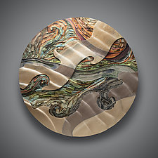 Shifting Currents by Aaron Laux (Art Glass & Wood Wall Sculpture)