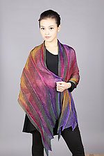 Feather Pleats Shawl in Jewel by Min Chiu  and Sharon Wang (Silk Shawl)