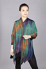 Feather Pleats Shawl in Peacock by Min Chiu  and Sharon Wang (Silk Shawl)