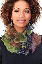 Infinity Scarf in Olive & Mauve by Min Chiu  and Sharon Wang (Silk Scarf)
