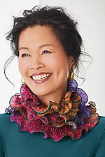 Infinity Scarf in Purples & Reds by Sharon Wang and Min Chiu (Silk Scarf)