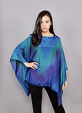 Shibori Silk Poncho by Min Chiu  and Sharon Wang (Silk Poncho, One Size)