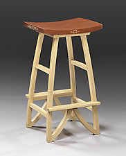 Ash and Mahogany Stool by Mark Del Guidice (Wood Stool)