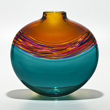 Transparent Flat Banded Vortex Vase in Topaz, Violet Pink Sunshine, and Lagoon by Michael Trimpol and Monique LaJeunesse (Art Glass Vase)