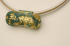 Verdigris and Gold Amulet Necklace by Nancy Worden (Gold & Copper Necklace)