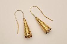 Golden Bugle Earrings by Nancy Worden (Gold & Silver Earrings)