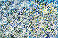 Blue Light Diptych by Betty Green (Mixed-Media Painting)