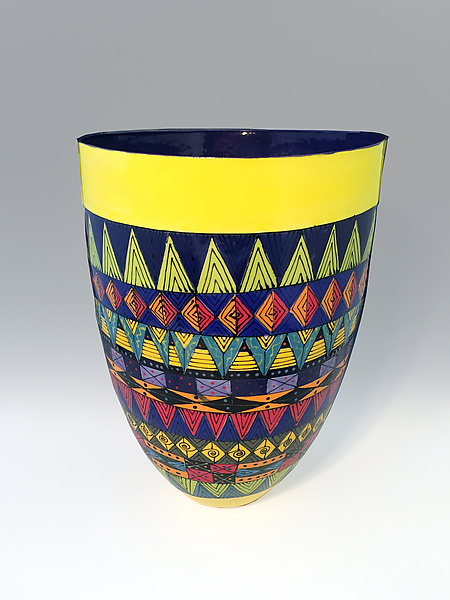 Tall Vase with Intricate Geometric Pattern and Navy Blue Interior