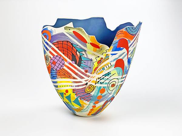Abstract Multi-Colored Folded Tall Vase
