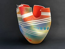 Stripe Tall Vase with Scarlet Interior and Cutouts by Jean Elton (Ceramic Vessel)