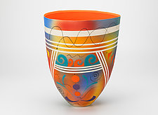 Bright Tall Vase with Lines and Tangerine Interior by Jean Elton (Ceramic Vase)