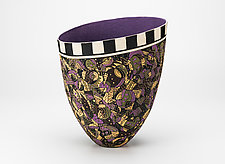 Black Amethyst Tall Vase with Checkerboard Top by Jean Elton (Ceramic Vase)