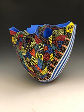 Abstract Bright Blue Folded Vase with Porthole by Jean Elton (Ceramic Vessel)