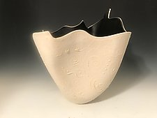 White Sculpted Vase with Black Interior and Slip Trails by Jean Elton (Ceramic Vase)