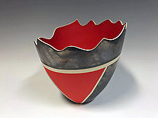 Metallic Red Vase by Jean Elton (Ceramic Vase)