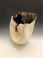 Gold Folded Vase with Long Cutout by Jean Elton (Ceramic Vessel)