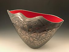 Sculpted Vase with Silver/Gold Metallic Finish and Red Interior by Jean Elton (Ceramic Vase)
