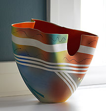Tall Mottled Vase with Red Orange Interior by Jean Elton (Ceramic Vessel)