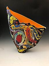 Abstract Sea life Sail Vase with Orange Interior by Jean Elton (Ceramic Vessel)
