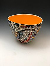 Small Abstract Sea Life Tall Vase with Orange Interior by Jean Elton (Ceramic Vase)