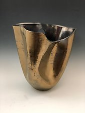 Gold Folded Vase with Palladium inside by Jean Elton (Ceramic Vessel)