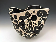 Black and White Spiral Vase by Jean Elton (Ceramic Vase)