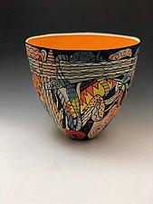Large Abstract Sea Life Vase with Orange Interior by Jean Elton (Ceramic Vessel)