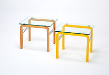 CURVEiture Glass Side Table by Carol Jackson (Wood Side Table)