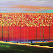 Trees on Orange/Reds by Mary Johnston (Oil Painting)