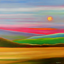 Sunset in the Hills by Mary Johnston (Oil Painting)