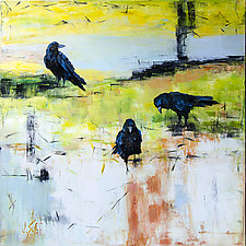Morning Petals with Three Crows by Janice Sugg (Oil Painting)