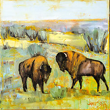 Bison Pair by Janice Sugg (Oil Painting)