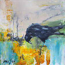 Black Crow/Pink Sky by Janice Sugg (Oil Painting)