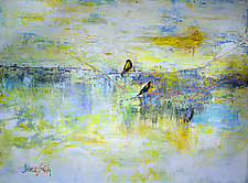 Yellow Goldfinch/Blue Lake by Janice Sugg (Oil Painting)