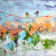 Songbirds on an Orange Branch by Janice Sugg (Oil Painting)