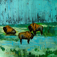 Storm Passing Bison by Janice Sugg (Oil Painting)