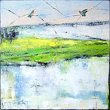 Land/sky Hummingbird Pair by Janice Sugg (Oil Painting)