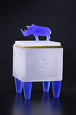 Blue & White Rhino Box by Georgia Pozycinski and Joseph Pozycinski (Art Glass & Bronze Sculpture)