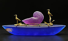 Nautilus Boat II by Georgia Pozycinski and Joseph Pozycinski (Art Glass & Bronze Sculpture)