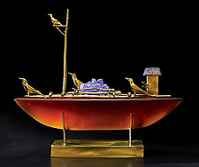 Crow Boat III by Georgia Pozycinski and Joseph Pozycinski (Art Glass & Bronze Sculpture)