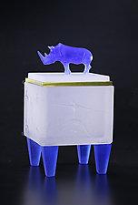 Blue & White Rhino Box by Georgia Pozycinski and Joseph Pozycinski (Art Glass & Bronze Sculpture)