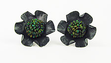 Opal Flower Earrings by Julie Long Gallegos (Beaded Earrings)