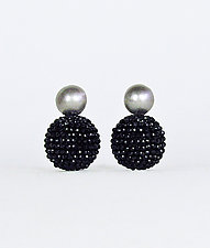 Black Spinel and Silver Orb Earrings by Julie Long Gallegos (Beaded Earrings)